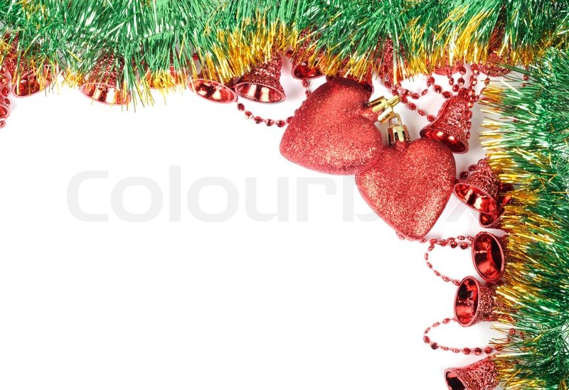 Christmas decor with golden green fir , red hearts and bells, stock photo