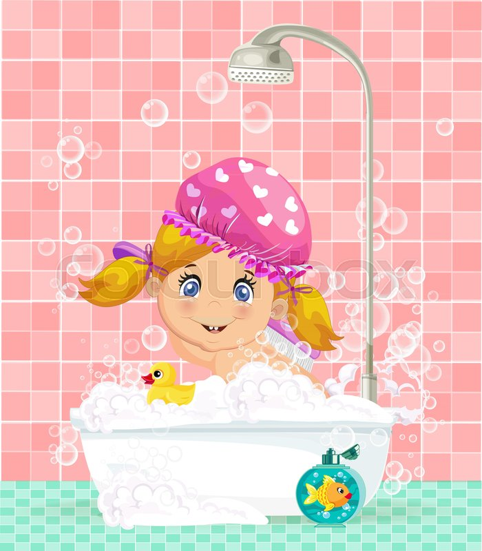 vector illustration of cute cartoon blonde baby girl character in pink washing hat taking a