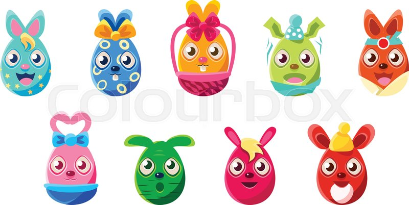 Easter Egg Shaped Easter Bunnies Colorful Girly Sticker Set Of
