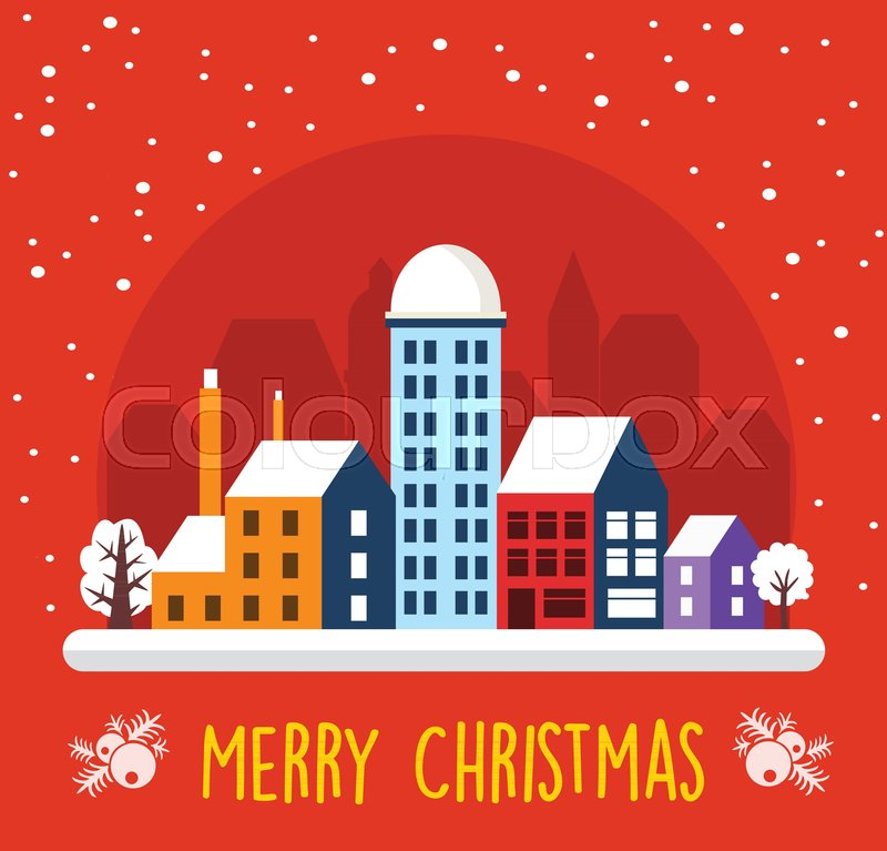 urban town christmas decor design winter street scene night city snowy with houses new year snowfall celebratory banner