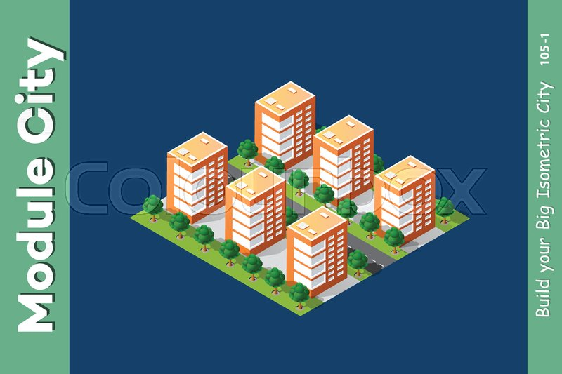 Isometric 3D Landscape Top View Building Of Modern City Architecture Area Urban Construction Drawing Map Engineering Design