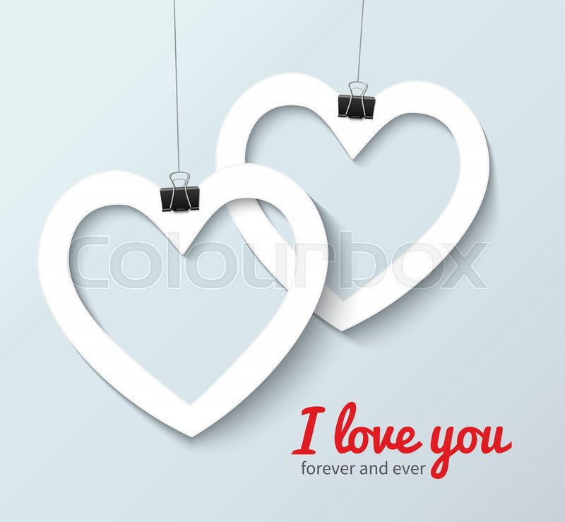 Vector Love Heart Symbol Two Cross Paper Hearts Card Template With
