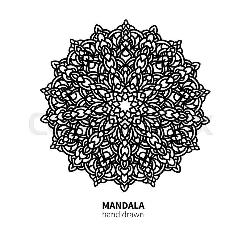 Mandala Flower Vector Drawing Decorative Boho Round Ornament Ethnic Element Great For Adult Coloring Book Antistress Therapy Meditation