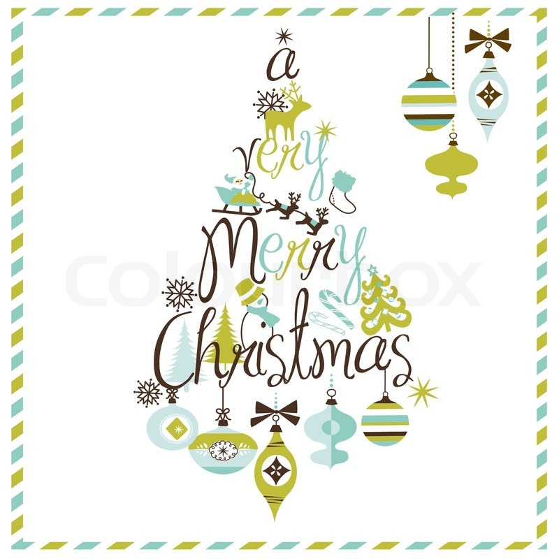 a very merry christmas tree design stock vector colourbox