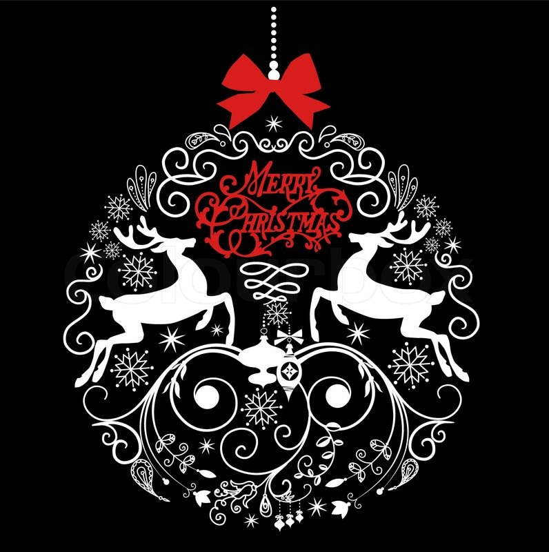 Black and white christmas ball illustration stock vector colourbox