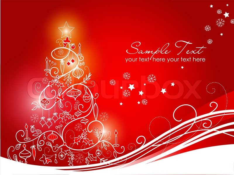 Red Christmas Background With Xmas Tree And Gifts: Beautiful Christmas Tree On Red ...