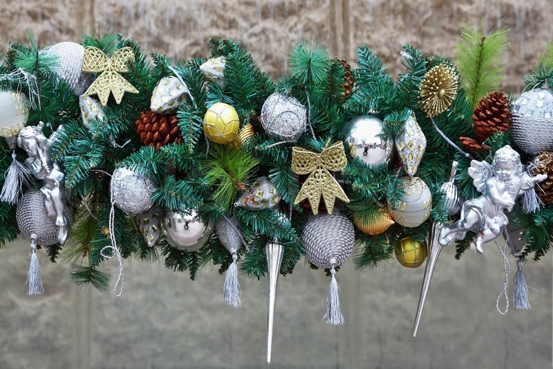 Gorgeous silver garland of christmas decorations and