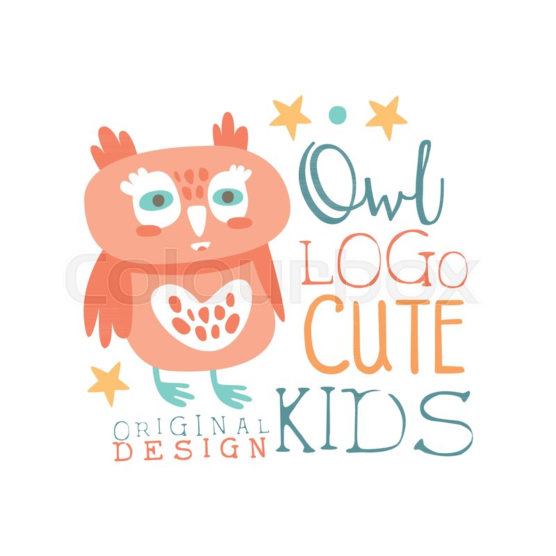 Owl Logo Cute Kids Original Design Baby Shop Label Fashion Print