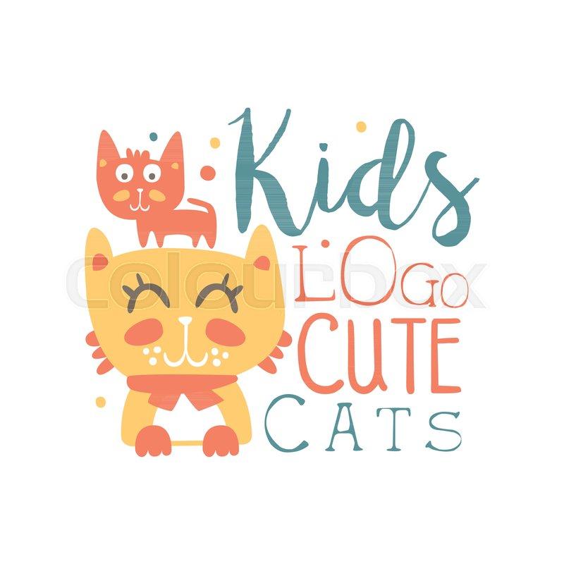 Kids Logo Cute Cats Baby Shop Label Fashion Print For Kids Wear