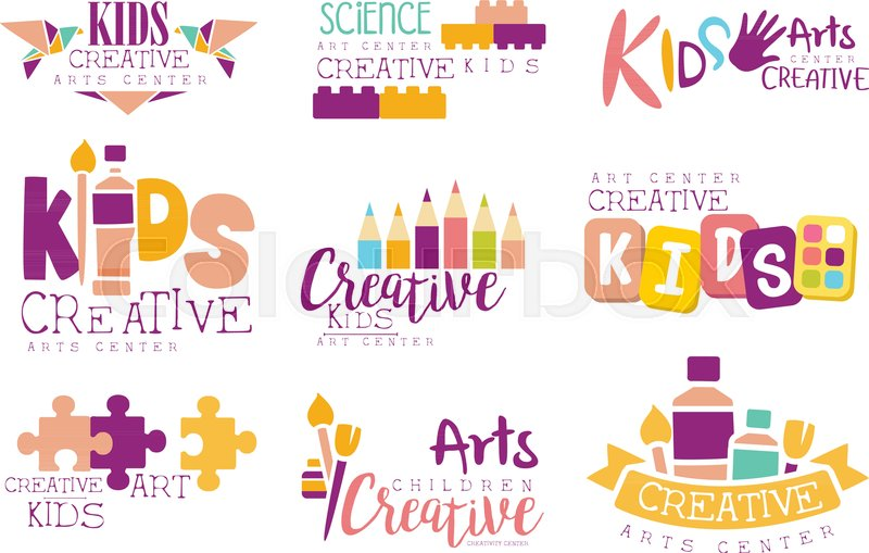 Kids Creative And Science Class Template Promotional Logo Set With