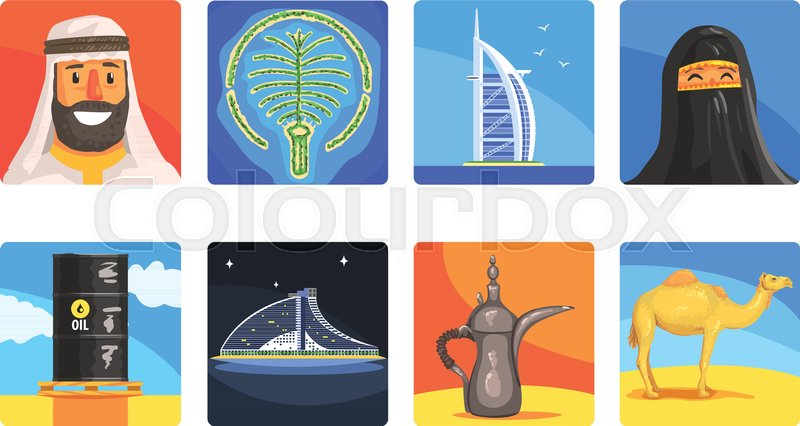 Famous Touristic Attractions To See In United Arab Emirates. Traditional Tourism Symbols Of Arabic Country Including Food, Architecture And Religious Habits. Set Of Colorful Vector Illustrations With Travelling Destination Well-Known Objects, vector