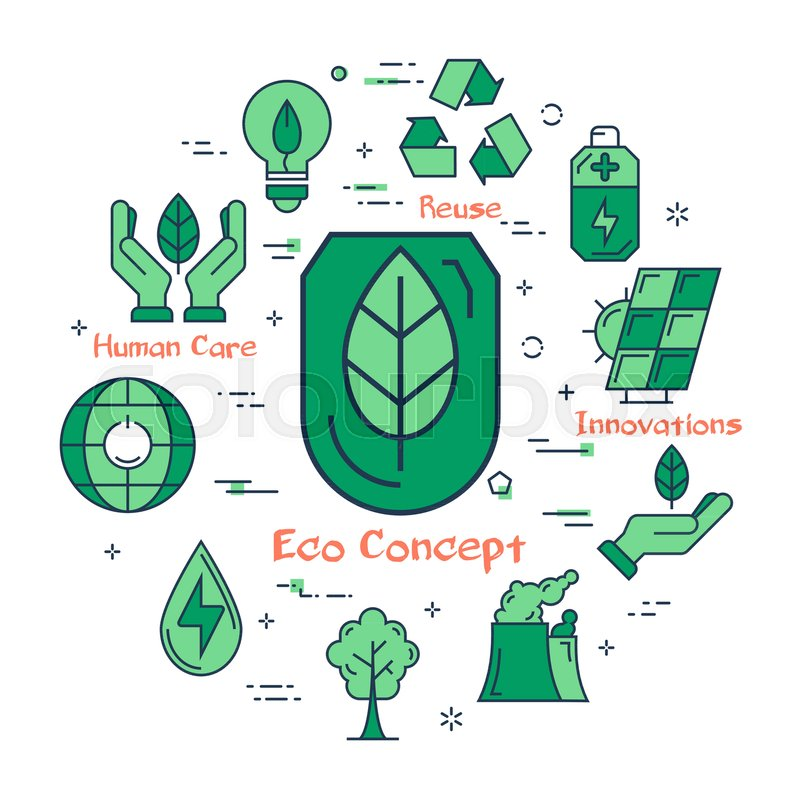 vector linear green round eco concept line icons of leaf. Black Bedroom Furniture Sets. Home Design Ideas