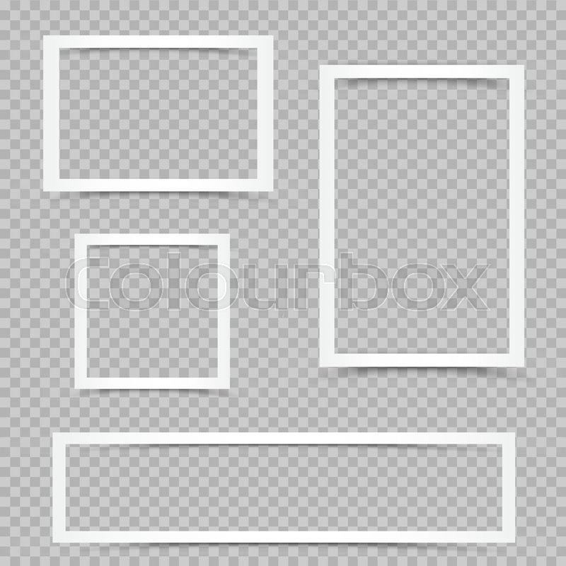 White art frames with shadow on transparent background. Modern ...