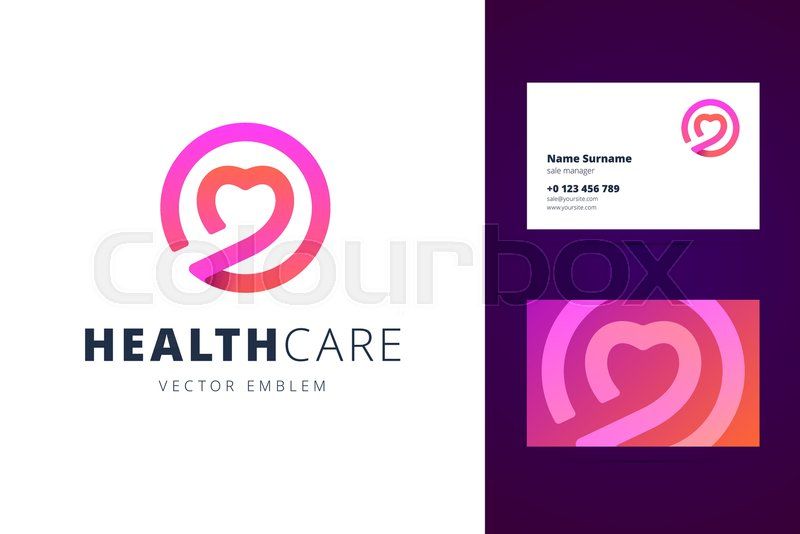 Health care logo and business card template emblem and business health care logo and business card template emblem and business card for dating club logotype for clinic medical center fitness center colourmoves