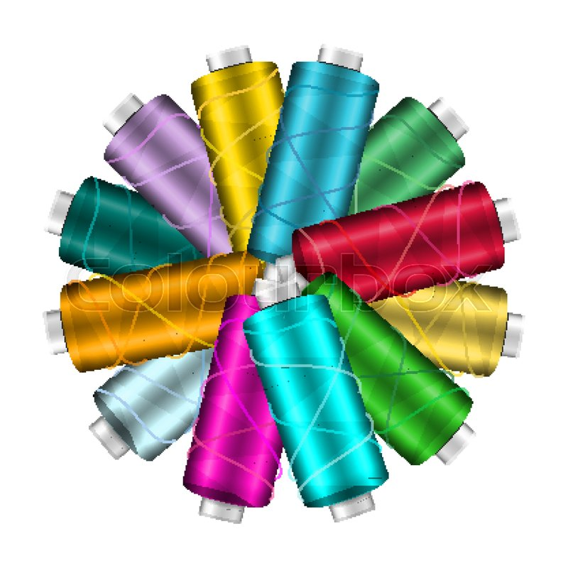 thread spool banner circle border place for text stock vector