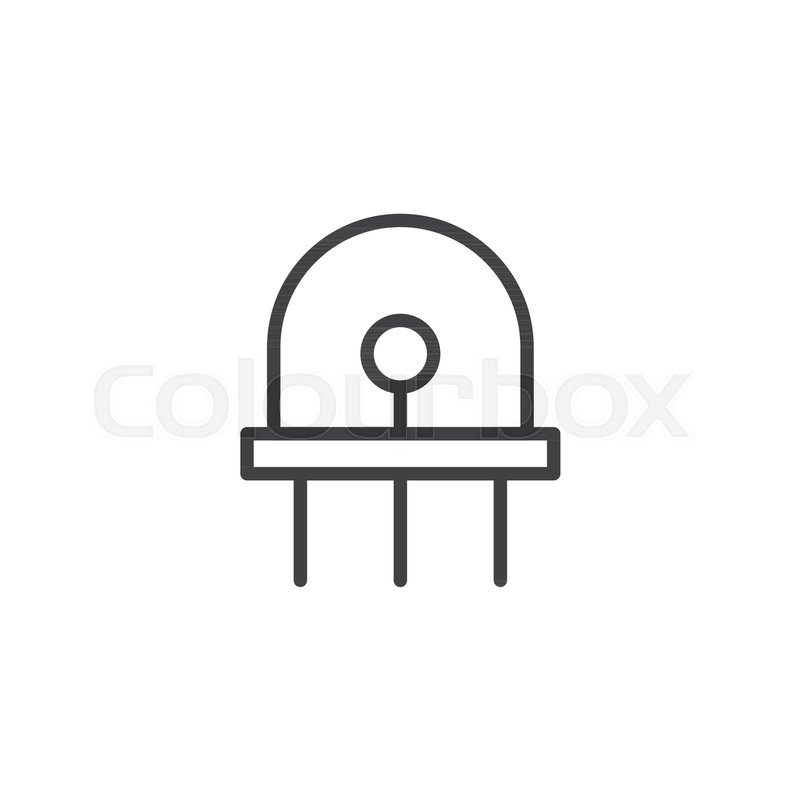 Diode, led line icon, outline vector sign, linear style pictogram ...