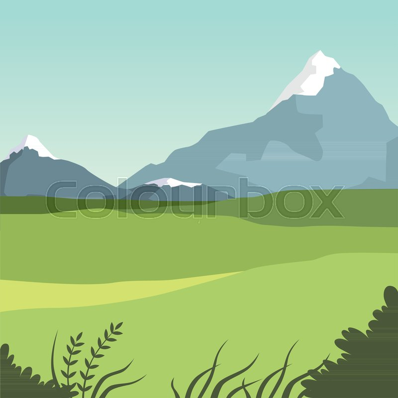 Beautiful valley and mountains, green summer landscape, nature background vector illustration, flat style, vector