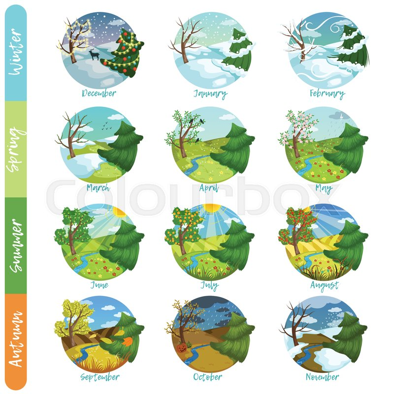 Twelve months of the year set, four seasons nature landscape winter, spring, summer, autumn vector illustrations isolated on a white background, vector
