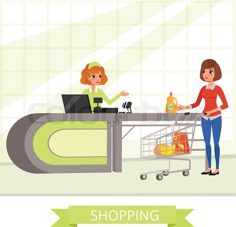 Cashier Cartoons: Supermarket Store Cashier And Customer ...