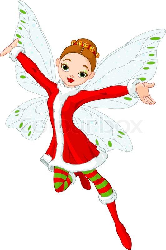 Beautiful Christmas fairy in flight | Stock Vector | Colourbox