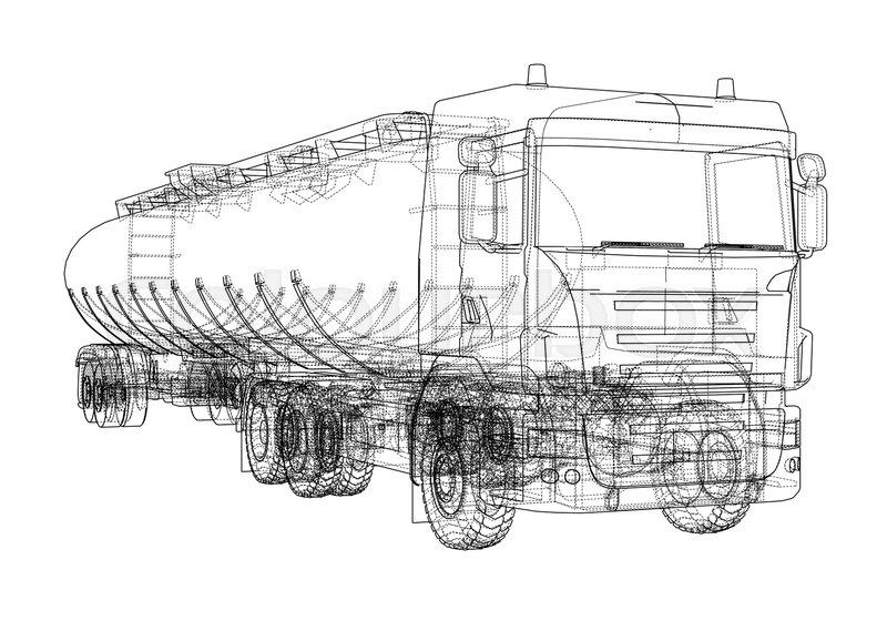 Oil truck sketch illustration. Vector image rendered from 3d model ...