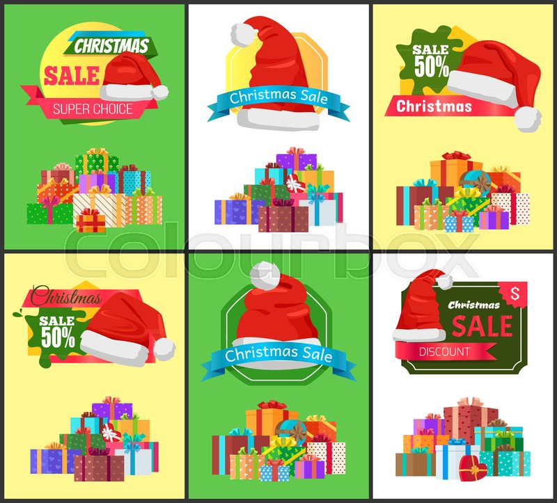 Winter holiday sale with half price reduction promotional posters ...