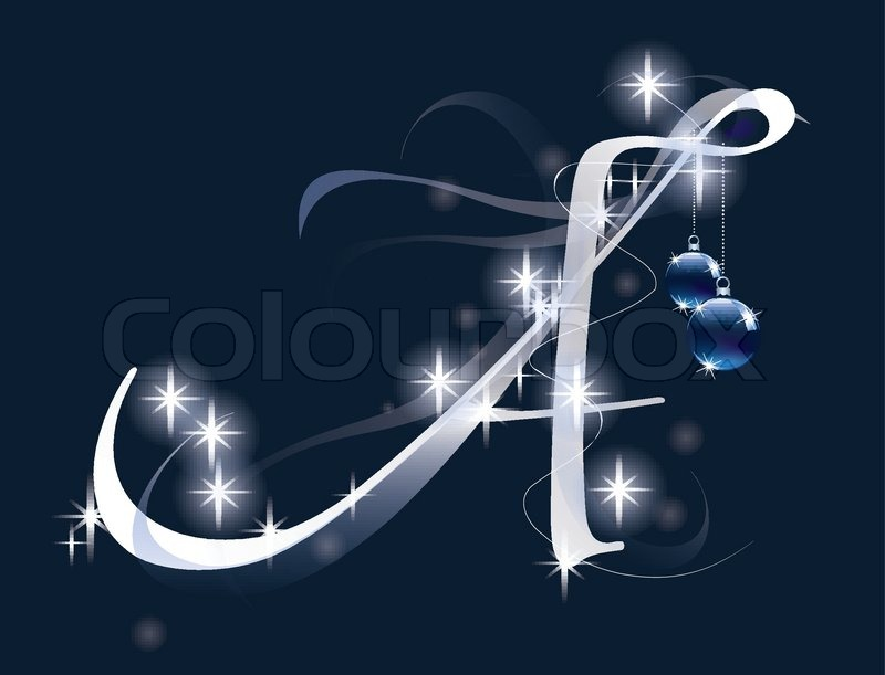 decorative letter with decorations for christmas design stock