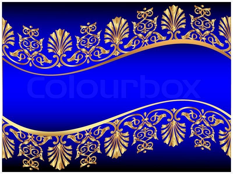 Illustration Frame Background With Golden Antique Pattern