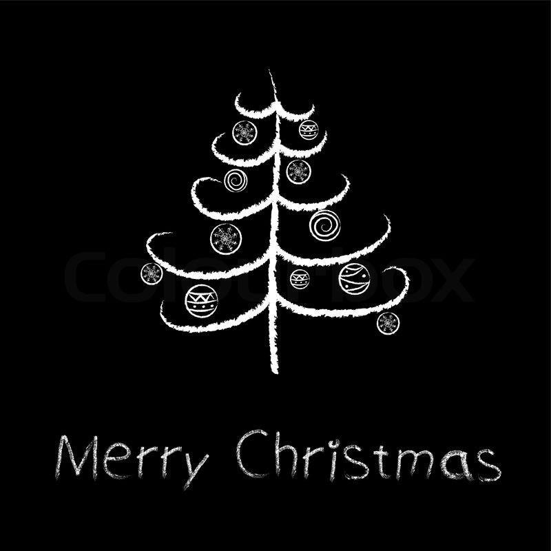 Stylized Chalk Christmas Tree With Snowflake Vector