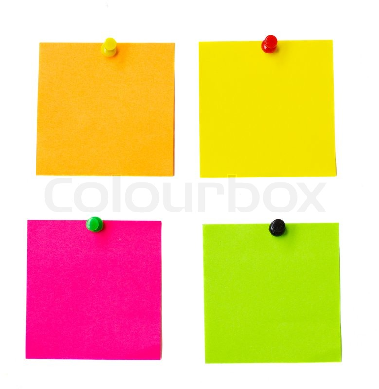 multicolored paper stickers isolated on white background stock
