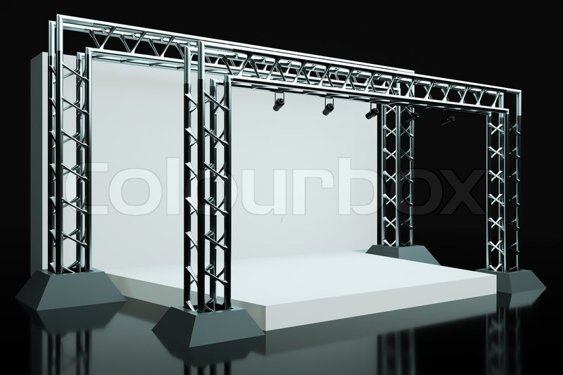 a concert stage with metal frame stock photo colourbox