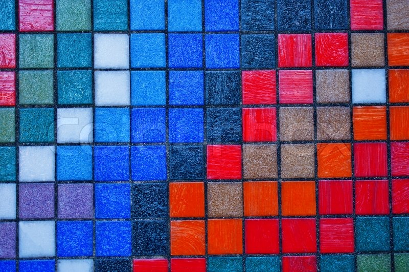 Abstract colorful tiles wall background close up | Stock Photo ...