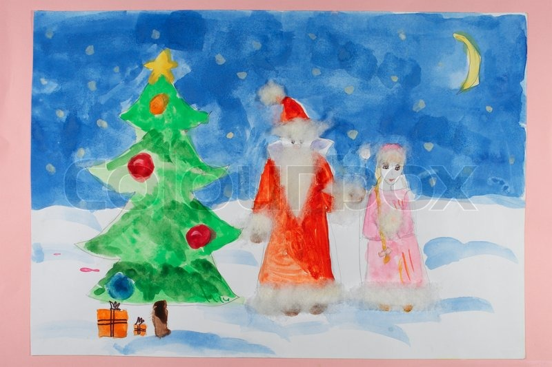 Santa Claus With Christmas Tree A Stock Photo Colourbox