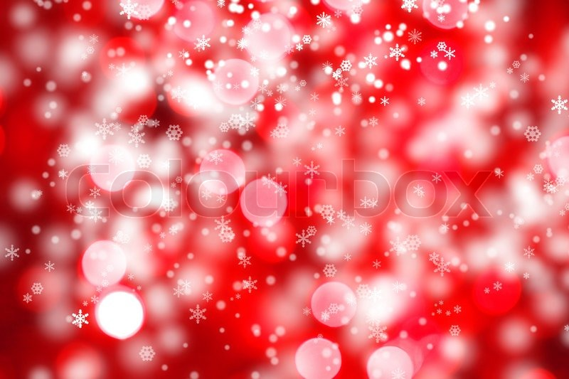 Abstract background of christmas red lights with snow | Stock ...
