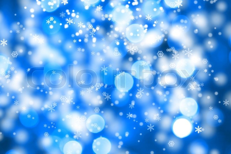Abstract Background Of Christmas Blue Lights With Snow