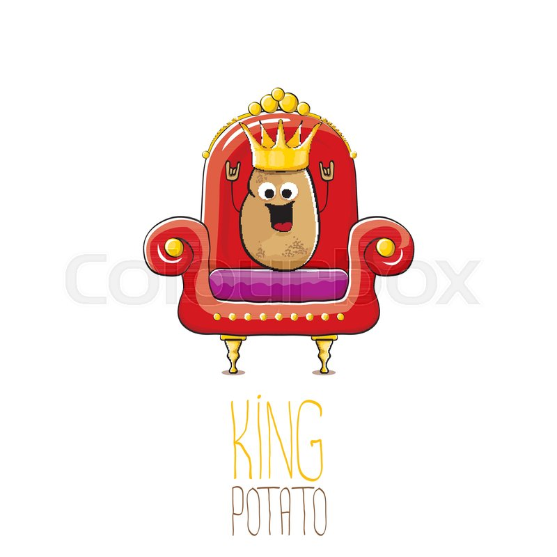 Vector Funny Cartoon Cool Cute Brown Smiling King Potato With Golden
