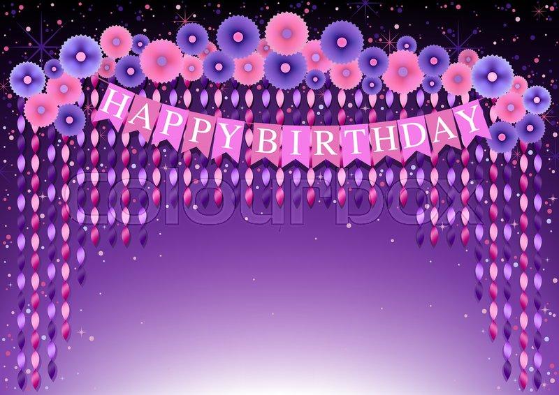 Happy Birthday Background With Purple Stock Vector