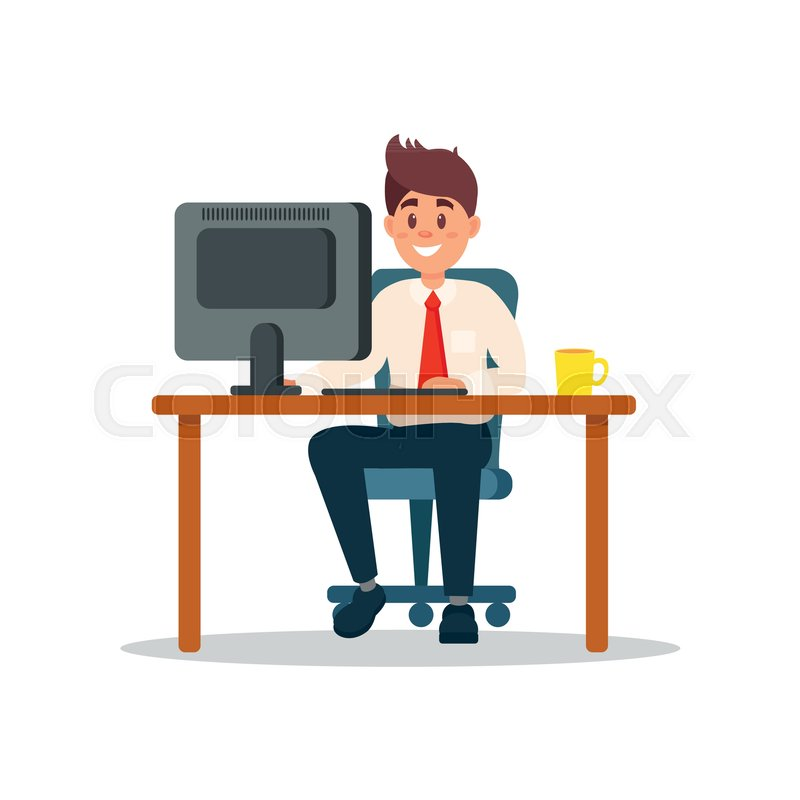Smiling Businessman Sitting At The Stock Vector Colourbox
