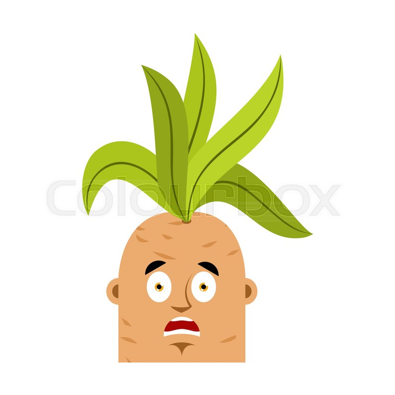 Mandrake root scared OMG emoji. Oh my God emotions Legendary mystical plant in form of man. , vector