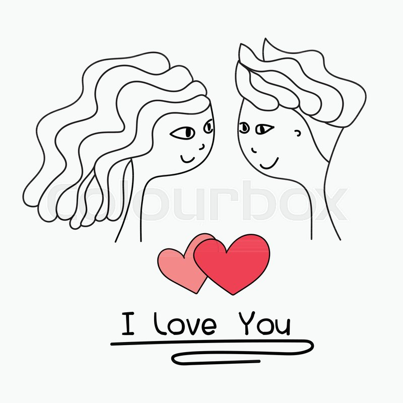 I Love You Typography. Cards Of Cute Couple. Doodle Boy And Girl ...