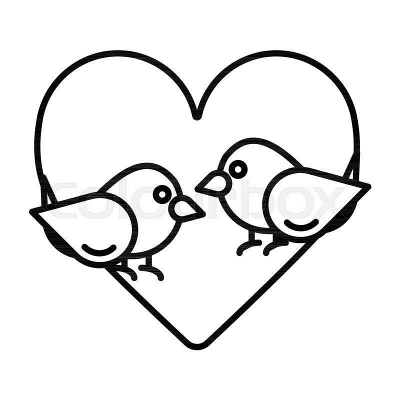 Love birds with heart icon vector, ... | Stock Vector ...