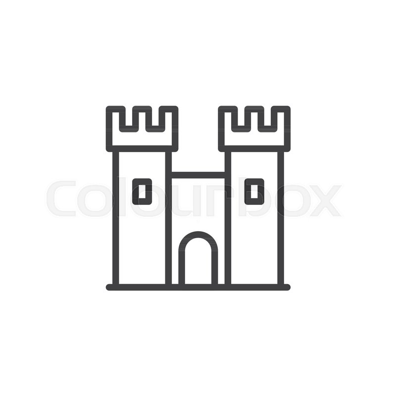 Castle Line Icon Outline Vector Sign Linear Style Pictogram Isolated On White Ancient Fortress Symbol Logo Illustration Editable Stroke