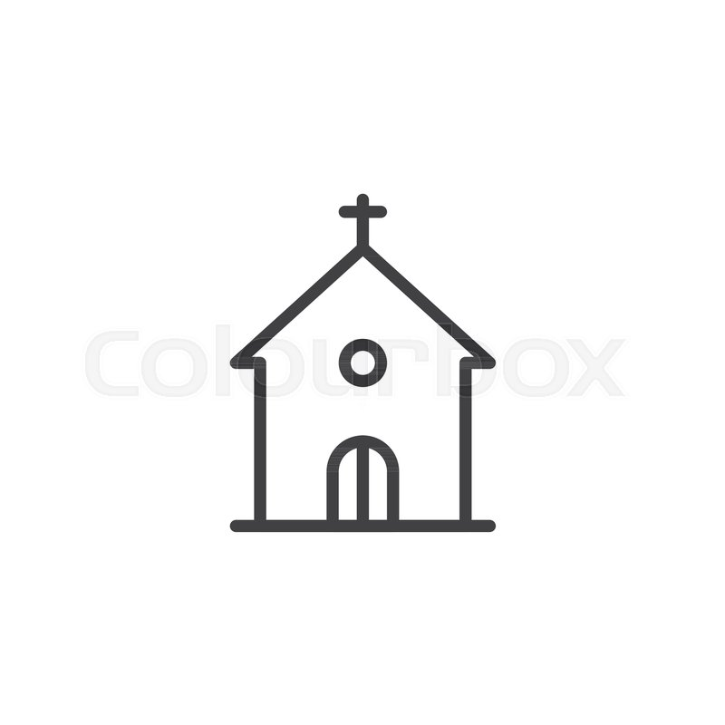 Church building line icon, outline vector sign, linear ...