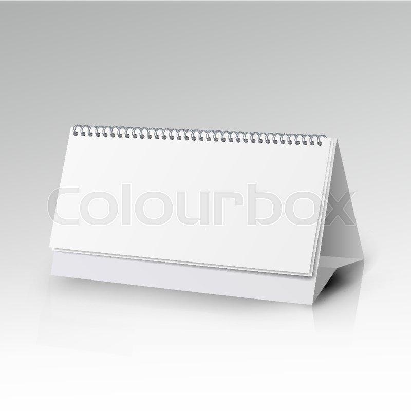 White Blank Paper Desk Spiral Calendar Spiral Calendar Vector