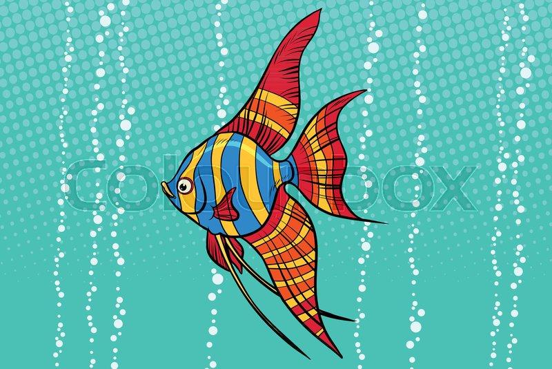 Freshwater Angelfish Aquarium Fish Pop Art Retro Vector