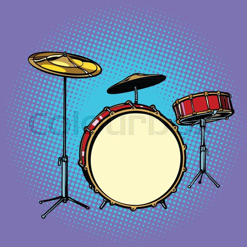 Drum Set Musical Instrument Pop Art Retro Vector Illustration Comic