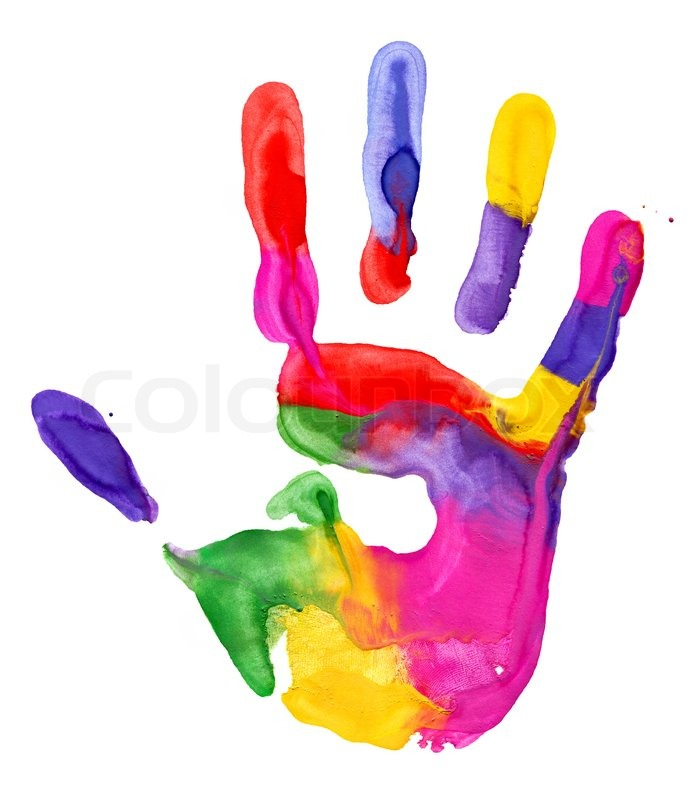 Close up of colored hand print on white background  Stock Photo