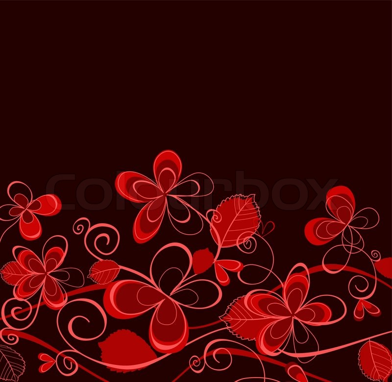 Red And Purple Floral Background For Stock Vector