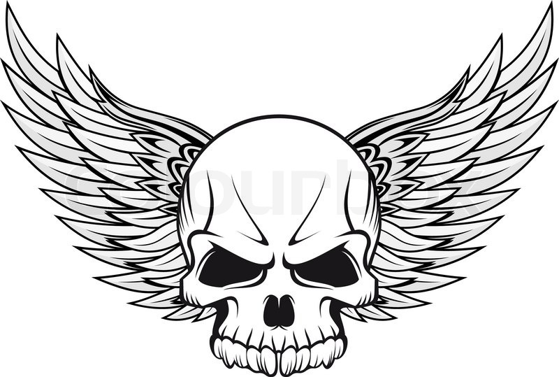 Stock vector of 'Human skull with wings for tattoo design'