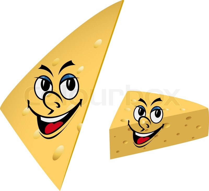 slices of cheese with smile isolated on the white background stock